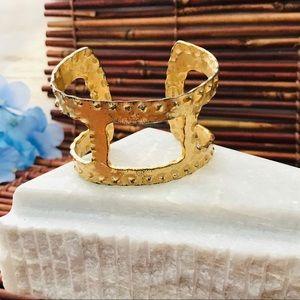 Chico's Rustic Cuff Bracelet Gold Tone